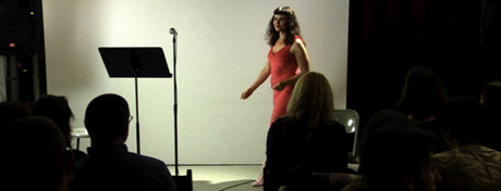Joanna Frueh, Sexual Advances, Cabinet, Brooklyn, NY, 2009. Photo from video by Paul Helzer