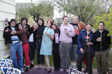 Snapshot of Joanna and her students at a party, May 2003